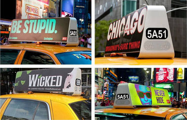 P5 Double Sided Car Top Advertising Signs , Taxi Cab Roof Signs Wireless 3G/Wifi